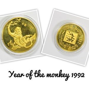Year Of The Monkey Gold Plated Lunar Coin w/ Case